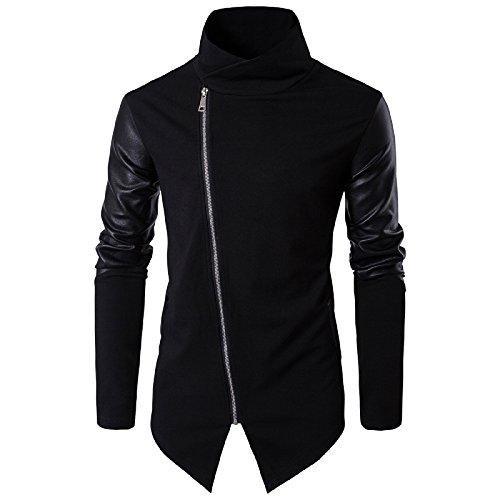 WSLCN Herren Einfarbig Baseball Jacke Lederjacke Kunstleder Baumwolle Slim Herbst Mantel Asymmetrische Saum Freizeitjacken Schwarz X-Large