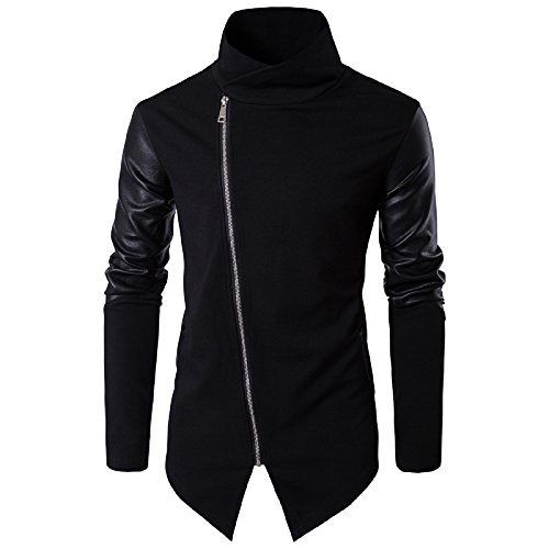 Elonglin Mens Fashion Knit Stitching Cardigan Zipped Jacket Artificial Leather Sleeves Irregular Placket Black Medium