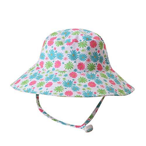 VRTUR Fischerhut Mädchen und Junge Baumwolle Sommerhut Bucket Hat Faltbar Anglerhut Kind schön Drucken Sonnenhut Hut 0-10 Jahre alt (Grün, M)