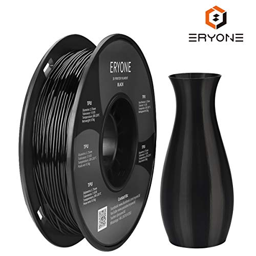 Filament TPU 1.75mm, Eryone TPU Filament 1.75mm, 3D Printing Filament TPU for 3D Printer, 0.5kg 1 Spool, Black