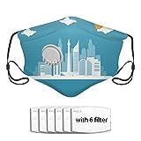 Paisaje urbano de Indonesia que vuela la ciudad de Yakarta con cubierta Cut Desi S Filtros reemplazables 5 capas Cubierta de filtro facial anti-neblina