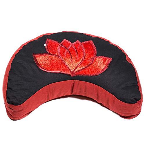 Mani Bhadra–Cojín de meditación Lotus Rojo/Negro Media Luna
