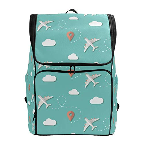 Laptop Rugzak Reizen Vliegtuigen Wolken Positie Blauw Grote Capaciteit Tas Reizen Daypack
