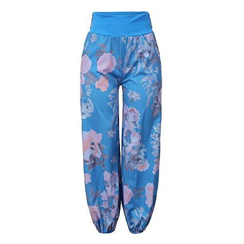 Broeken Autumn Summer Locker Dames Floral Broeken Lange broek Baggy Leggings Plus Size X-Large blauw