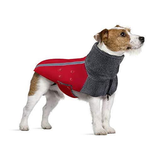SlowTon Wintermantel für Hunde, Warmes Futter aus Polar Fleece Außenjacke für Hunde mit Rollkragenschal Reflexstreifen Einstellbar Wasserdicht Winddicht Welpenweste Weiches Haustier