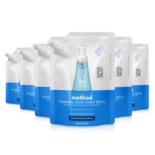 Method Foaming Hand Soap Refill, Sea Minerals, 28 oz, 6 pack, Packaging May Vary