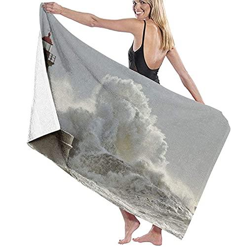 Toallas de playa, olas grandes en una tormenta soleada, costa norte portuguesa, toalla de baño altamente absorbente para baño, hotel, gimnasio, spa, viajes de 52 x 32 pulgadas
