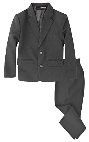 G218 Boys 2 Piece Suit Set Toddler to Teen (14, Charcoal)