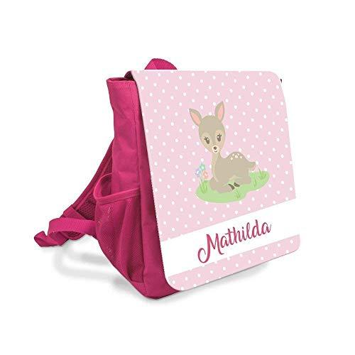 Geschenk - Kinderrucksack für Mädchen mit Namen u. Reh