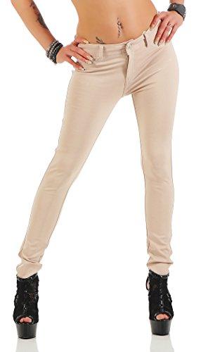 miss anna Treggings Jeggings Hüfthose Stretch Slimfit Leggings Hose Gr. XS S M L XL 2XL 3XL 4XL, H35 Beige M/38