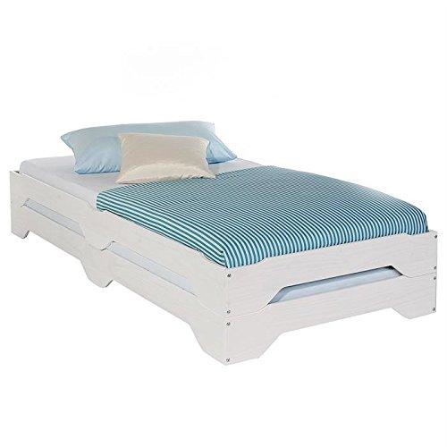 IDIMEX Lot de 2 lits superposables RONNY 90 x 200 cm couchage supplémentaire fonctionnel en pin massif lasuré blanc