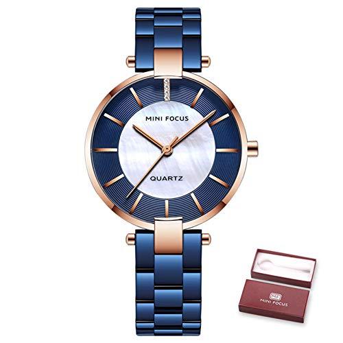 Mini Focus Reloj Mujer, Relojes de Pulsera de Cuarzo para Mujer, Reloj de Pulsera Resistente al Agua con Pulsera de Acero Inoxidable con Caja para Regalos para niñas (Blue)