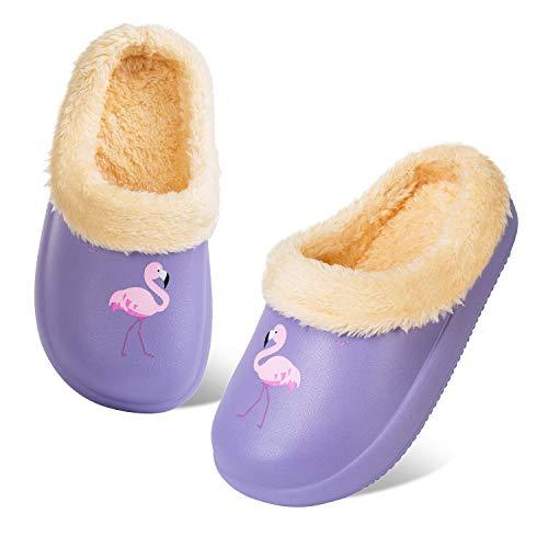 Zapatillas de Invierno para Niños Zuecos Cálidas Chico Niña Pantuflas Jardín Ultraligeros y Antideslizantes para Interiores y Exteriores (Flamenco Violeta,28/29)