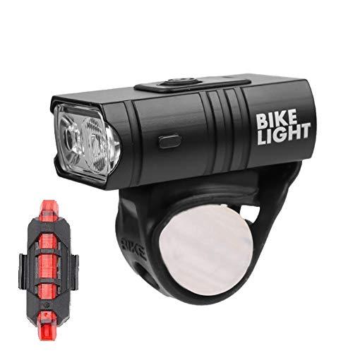 10W USB recargable impermeable T6 LED MTB bicicleta de montaña faro delantero + luz trasera luces de linterna de bicicleta-Negro