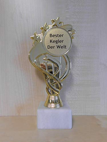 Fanshop Lünen Kegeln - Pokal - Geschenk - Bester Kegler der Welt - Geburtstag - Sportpokal - Gr. 19,5 cm - Trophäe - mit Gravur - (A333) -