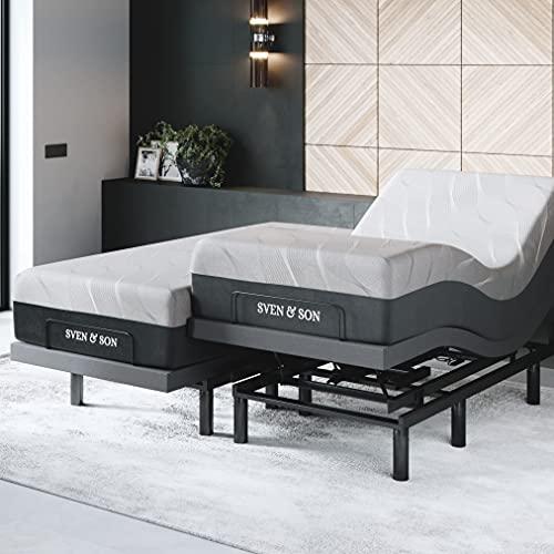 "Sven & Son Bliss Split King Adjustable Bed Frame (Electric Bed with Lumbar Support) + 14"" Cool Gel Memory Foam Hybrid Mattress and Adjustable Bed Split King"