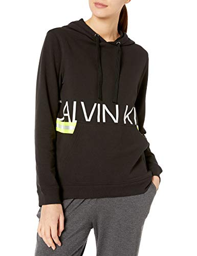Calvin Klein Herren Neon Long Sleeve Hoodie Pyjama-Oberteil (Top), schwarz, X-Small