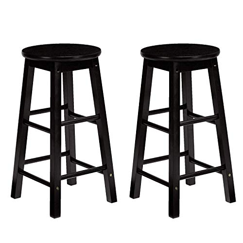 PJ Wood Classic Round-Seat 24-inch Kitchen Counter Stools - Black, Set of 2