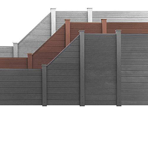 HORI® WPC Garten Zaun I Lamellenzaun, Sichtschutz Komplettset I beidseitig glatt I Braun I Höhe 180 cm I 1x Quadratisch und 1x Pfosten