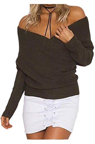 Womens Sexy Cuello En V Manga Larga Cross Wrap Knit Jumper Top Sweater Frente Brown One Size
