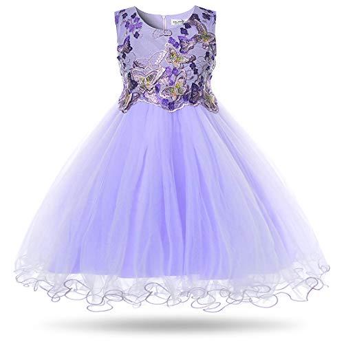 CIELARKO Mädchen Kleid Schmetterling Prinzessin Hochzeit Festkleid Kleider Ärmellos (8-9 Jahre, Violett)