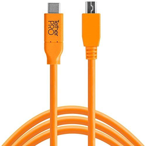 Tether Tools TetherPro 4,6 Meter USB-Datenkabel für USB-C an USB 2.0 Mini-B5 (gerader Stecker/orange) - z.B. zum Anschließen Einer Kamera an EIN Notebook