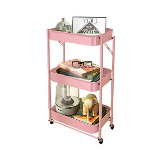 GFL Carro de Almacenamiento Plegable, Carro de Cocina con Carrito de Servicio de Metal de 3 Niveles, para Baño, Cocina, Cuarto de Niños, Lavadero, Oficina (Color : Pink)