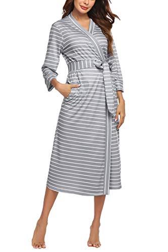Unibelle Damen Bademantal Baumwolle morgenmantel lang leicht Kimono Maxi Dünn Saunamantel weich Robe Tasche Frauen Hausmantel Muster-7 L
