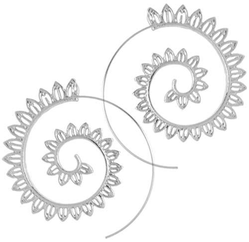 2LIVEfor Ohrringe Creolen Silber Gold Ohrhänger Design Spirale Schnecke Hoop Creole Rund Ethno Style Creolen Orientalisch Zacken Blätter Blüten (Silber)