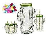 Set de Juego jarra con grifo 3,8L y 4 vasos cactus con tapas enroscable libre de BPA + 10 cubiteras. Jarra con dispensador