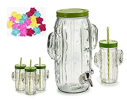 Set di caraffa con rubinetto da 3,8 l e 4 bicchieri da cactus con coperchio avvitabile senza BPA + 10 secchielli per cubetti di ghiaccio