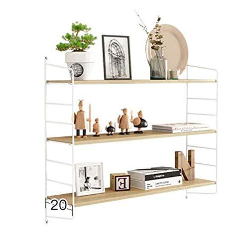 IUYJVR Estante para Libros Flotante de 2/3 Niveles, estantes de MDF montados en la Pared y Estante de Metal (Color: Natural, tamaño: 80 * 20 * 75 cm)