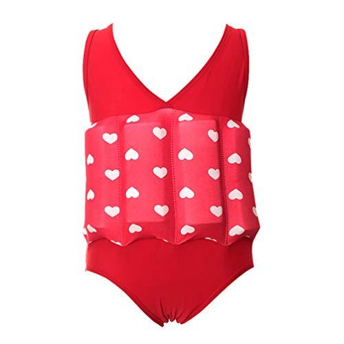 CLISPEED Kinder Schwimmbadeanzug Rotes Herz Dekoration Einteilige Badebekleidung mit Verstellbarem Auftrieb für Kinder Baby Lernen Schwimmen Größe L