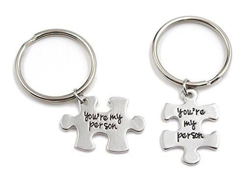 Charm.L Grace   Juego de 2 collares/llaveros con pieza de puzzle, diseño con texto en inglés