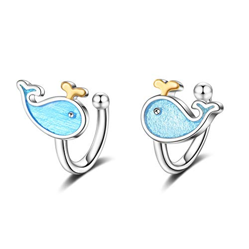 Ladies Earrings Girls Earrings Temperament Student Earrings Clip-On Mori Series Super Fairy Blue Little Whale Without Pierced Ear Clip Female Unique Jewelry Gift