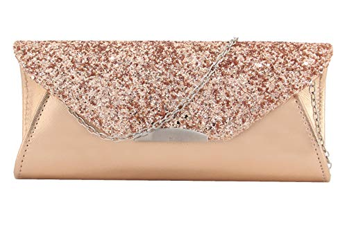 Material: PU Leather and Unique sequin design , Fabric lining. Magnetic-flap closure. Dimension: 9.2 in (L) X 2 in (W) X 4 in (H), A Detachable Chain with 44.8 inches This clutch bag has a main compartment and a slip pocket with a fully lined interio...