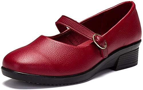 [Nomioce] レディースシューズ ナースシューズ レディース安全靴 パンプス ウォーキングシューズ 通勤 モカシン 軽量 疲れにくい 長時間立ち仕事 大きいサイズ 履きやすい 赤2 24.5cm