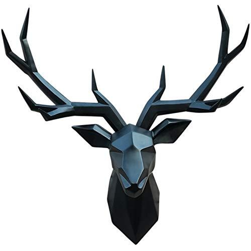 XYF Testa Cervo da Appendere Ornamento Testa di Cervo Cervo da Parete Geometria Scultura da Parete Creativo Testa di Cervo da Parete Resina Decorazione Murale (Color : Black, Size : 52 * 68cm)