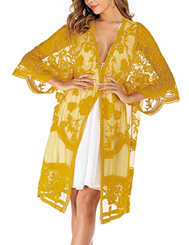 iWoo Strandkleid Damen Sommer Sexy Mode Festival Kimono Strand Sonnencreme Blumen Einfarbig Spitzen Cardigan-Senfgelb