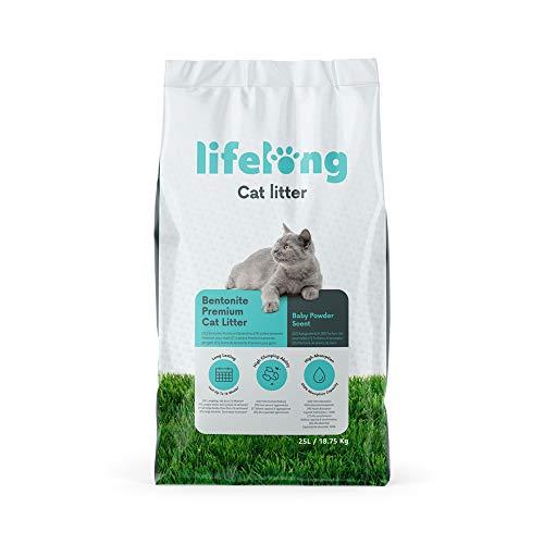 Amazon-Marke: Lifelong Bentonite klumpendes Baby Puder Duft Katzenstreu 25L