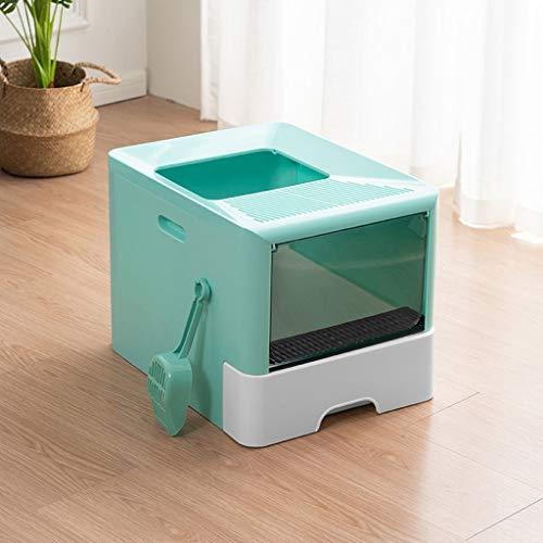 Gatera Arenero WC Top-Box entrada de la litera del gato grande completamente cerrado WC Litter Box Desodorante plegable caja de arena del gato Suministros de arena for gatos Pan (verde) Caja de arena