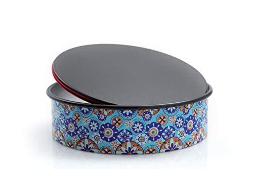 Domo Push Pan Springform, Abnehmbarer Boden, Durchmesser 26cm, Aluminium, Blau Bunt, 27x 27x 7.6cm