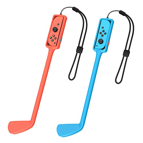 Golf Culb Hand Grip for Switch Joy Con, Built in Solid Ball Switch Game Accessories Compatible with Mario Golf: Super Rush with Hand Strap for Joy Cons, 2 Packs
