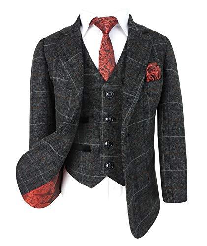 SIRRI Paul Andrew Jungen Karierter Tweed-Retro-Anzug in Kohlengrau - Gr. 4 Jahre