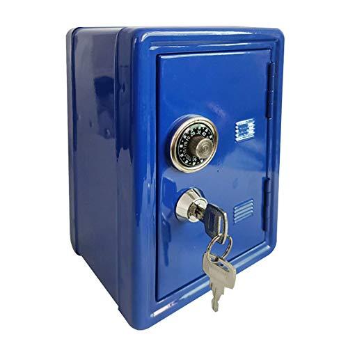 OSISTER7 - Caja de efectivo con bandeja para dinero, pequeña caja fuerte con llave, caja de seguridad para guardar la contraseña, No nulo, azul, Tamaño libre