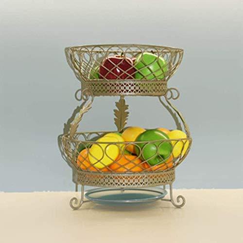 AINIYF Fruit Basket Fruit Bowl 2-Tier Fruit Bowl - Exhibition Bowl - Black Metal Counter Fruit Bowls In Vintage Style Save Space For Bathroo Kitchen And Fruit Bowl Fruit Bowl (Color : Gold)