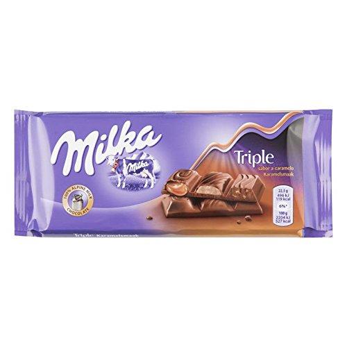 MILKA chocolate triple caramel tableta 90 gr