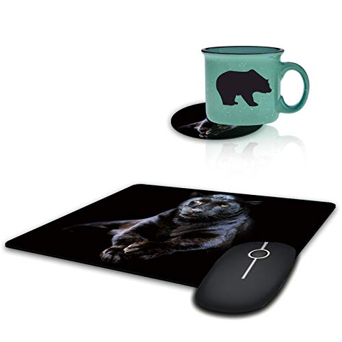 Gaming Mouse Pad with Coffee Table Coaster, Black Panther Animal Design Mousepad Non-Slip Rubber Gaming Mouse Pad Rectangle Mouse Pads for Computers Laptop