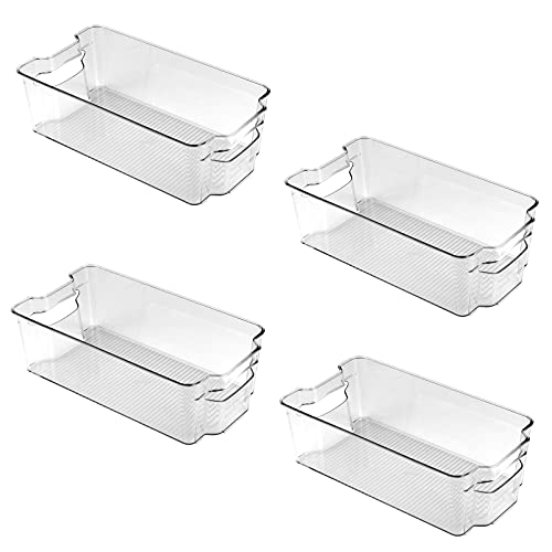 [4 Pack] Refrigerator Organizer Bins, Kitchen Storage Bins, Clear Plastic Stackable Fridge Organization Containers Tray with Handles for Freezer, Pantry, Cupboard, Shelves, Cabinet