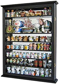 Wall Display Case Cabinet for Miniature Shoes, Miniatures Figurines, Wall Curio SC13 (Black Finish)